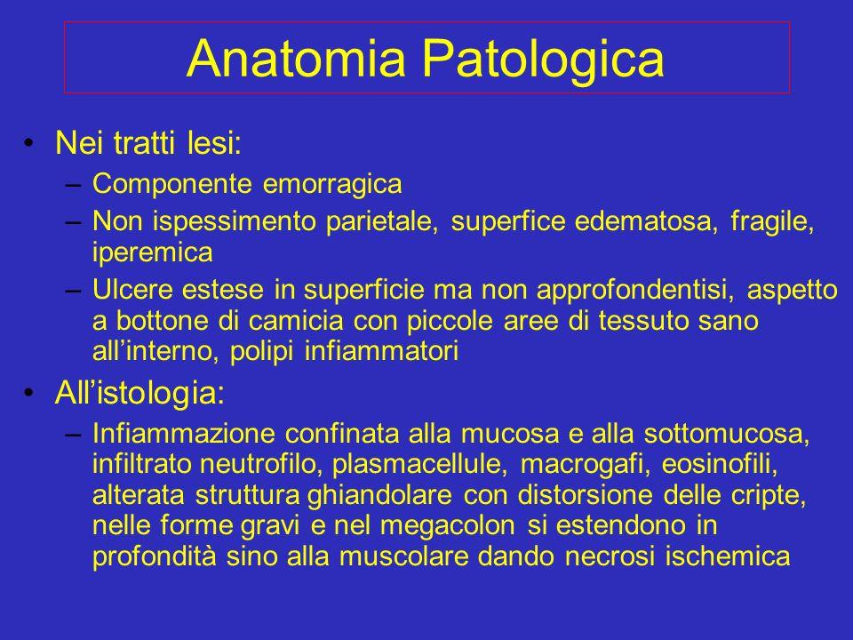 Anatomia Patologica Nei tratti lesi: –Componente emorragica –Non ispessimento parietale, superfice edematosa, fragile, iperemica –Ulcere estese in sup