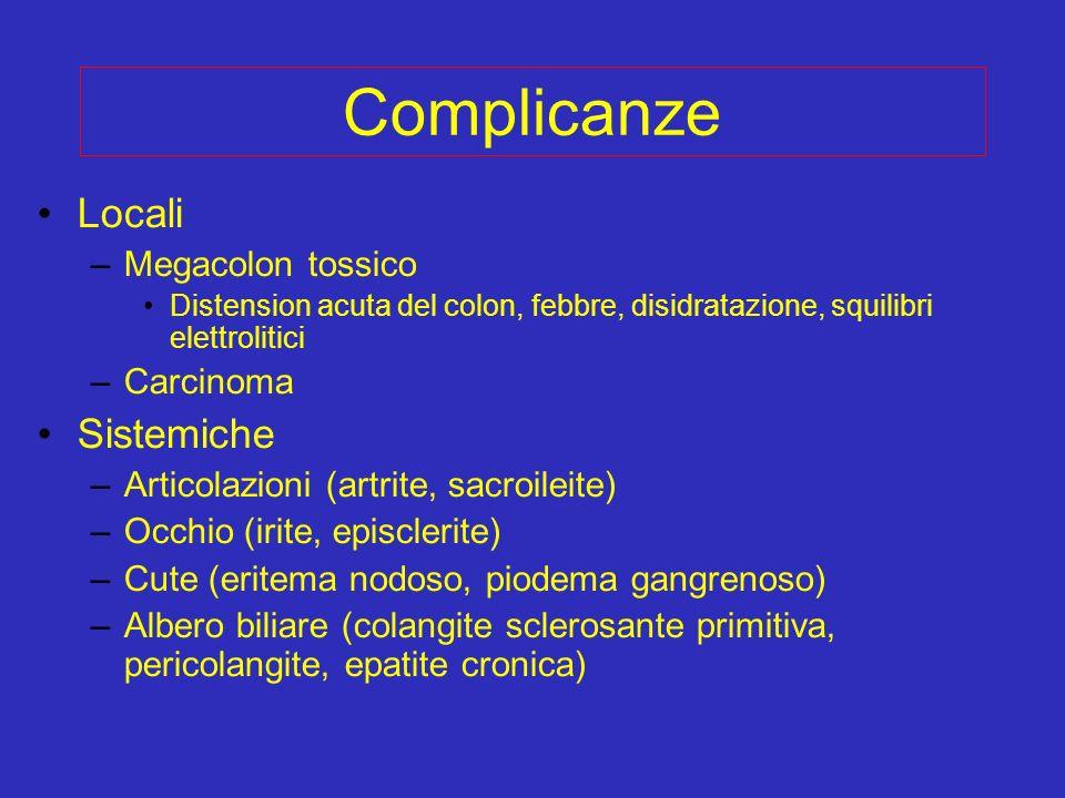 Complicanze Locali –Megacolon tossico Distension acuta del colon, febbre, disidratazione, squilibri elettrolitici –Carcinoma Sistemiche –Articolazioni