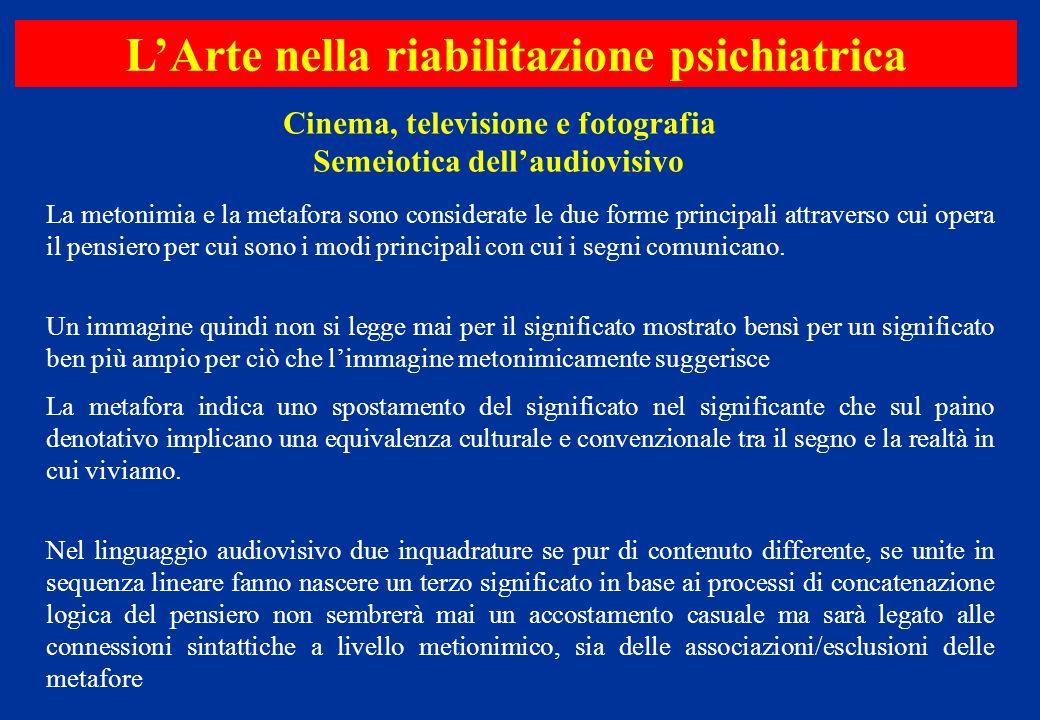 Cinema, televisione e fotografia Semeiotica dellaudiovisivo LArte nella riabilitazione psichiatrica La metonimia e la metafora sono considerate le due