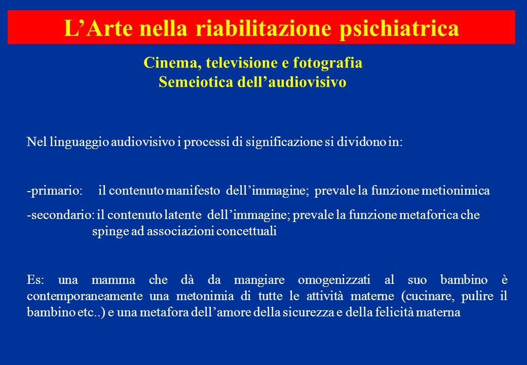 Cinema, televisione e fotografia Semeiotica dellaudiovisivo LArte nella riabilitazione psichiatrica Nel linguaggio audiovisivo i processi di significa