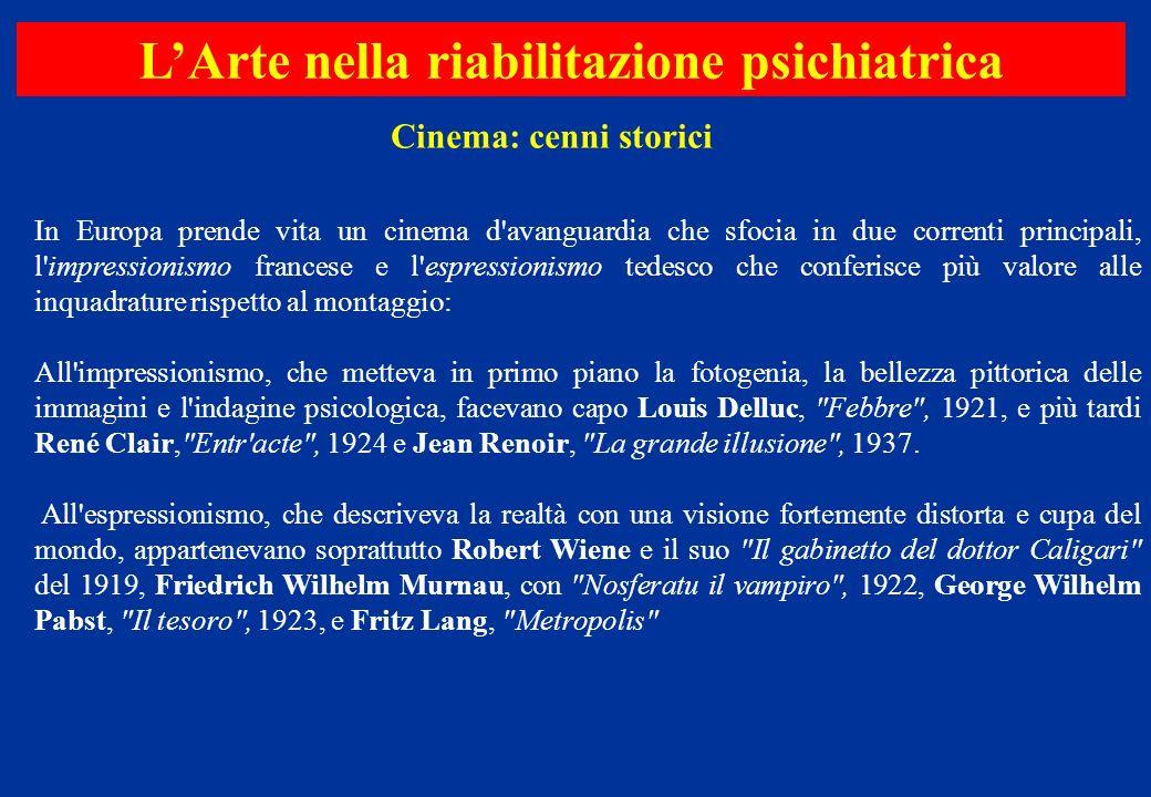 In Europa prende vita un cinema d'avanguardia che sfocia in due correnti principali, l'impressionismo francese e l'espressionismo tedesco che conferis