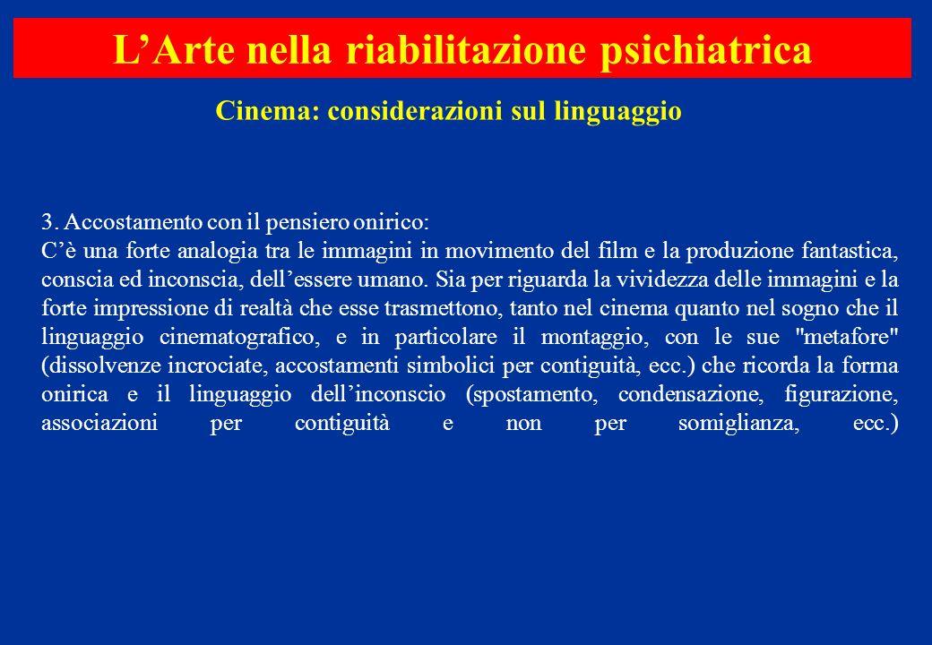 3. Accostamento con il pensiero onirico: Cè una forte analogia tra le immagini in movimento del film e la produzione fantastica, conscia ed inconscia,