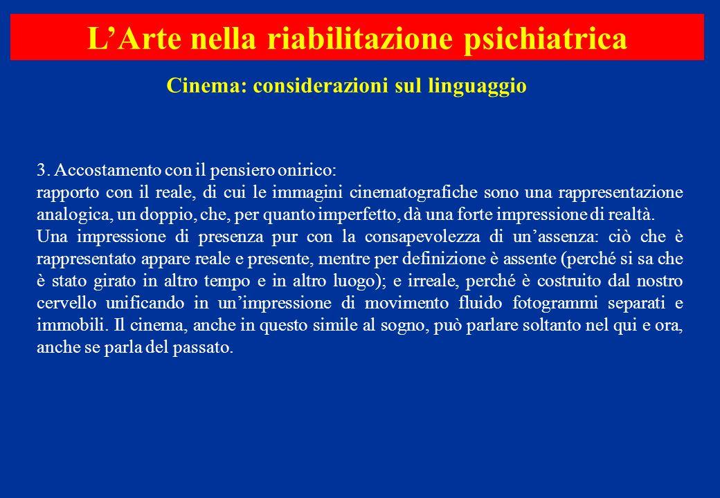 3. Accostamento con il pensiero onirico: rapporto con il reale, di cui le immagini cinematografiche sono una rappresentazione analogica, un doppio, ch