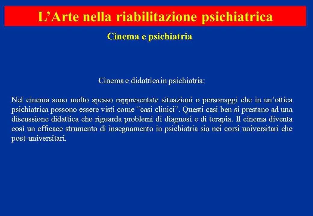 Cinema e didattica in psichiatria: Nel cinema sono molto spesso rappresentate situazioni o personaggi che in unottica psichiatrica possono essere vist