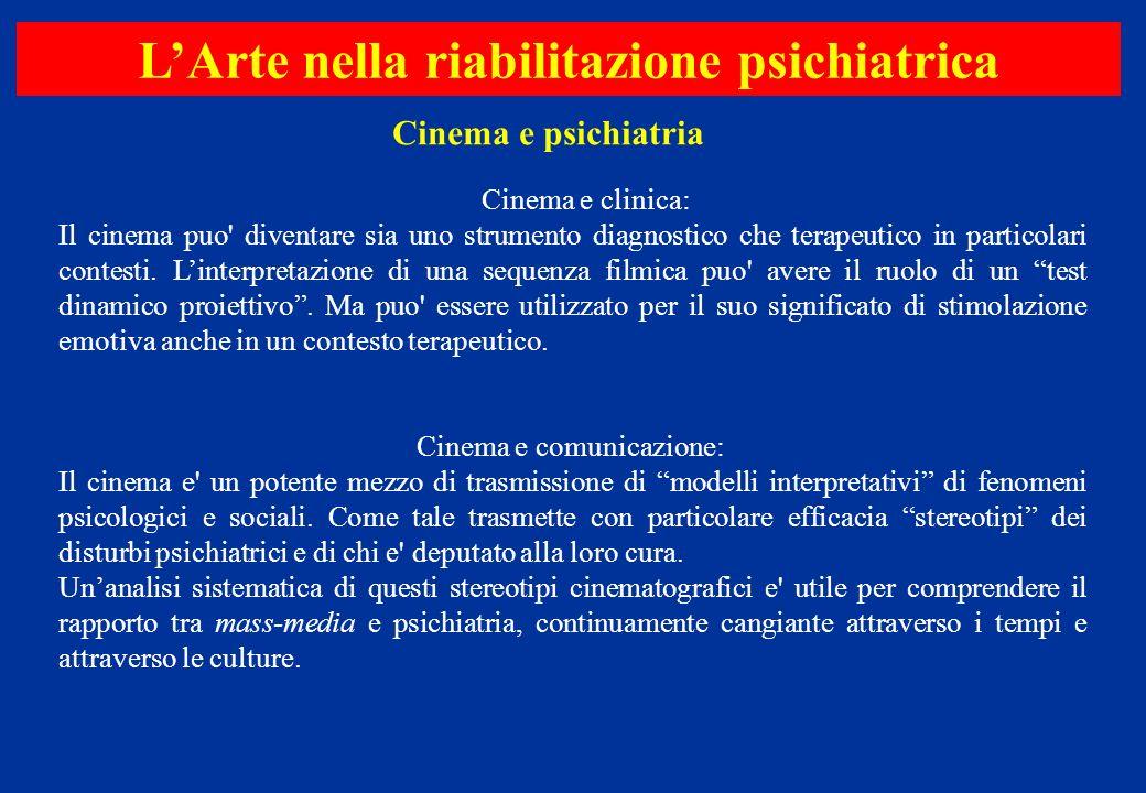 Cinema e clinica: Il cinema puo' diventare sia uno strumento diagnostico che terapeutico in particolari contesti. Linterpretazione di una sequenza fil