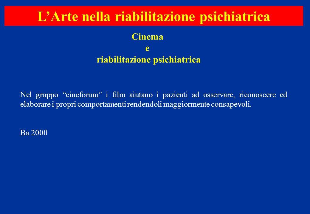 Nel gruppo cineforum i film aiutano i pazienti ad osservare, riconoscere ed elaborare i propri comportamenti rendendoli maggiormente consapevoli. Ba 2