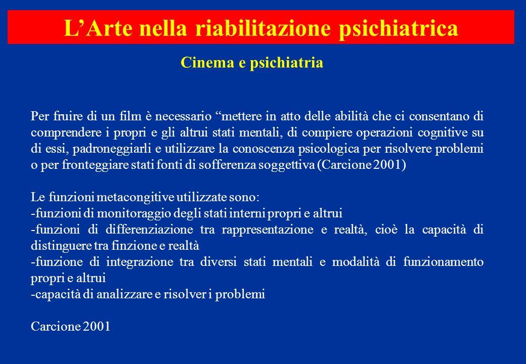 Cinema e psichiatria LArte nella riabilitazione psichiatrica Per fruire di un film è necessario mettere in atto delle abilità che ci consentano di com