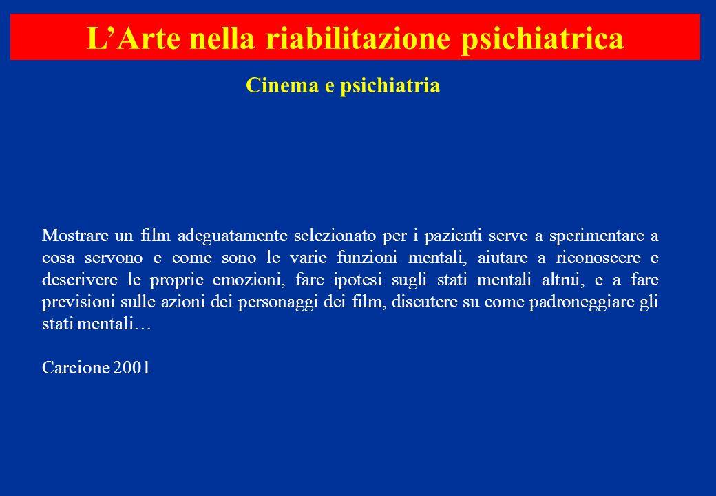 Cinema e psichiatria LArte nella riabilitazione psichiatrica Mostrare un film adeguatamente selezionato per i pazienti serve a sperimentare a cosa ser
