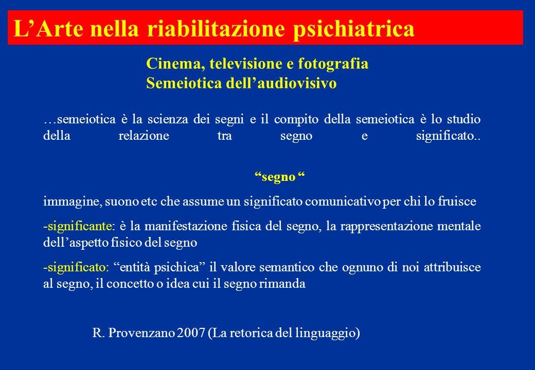 Cinema, televisione e fotografia Semeiotica dellaudiovisivo LArte nella riabilitazione psichiatrica …semeiotica è la scienza dei segni e il compito de