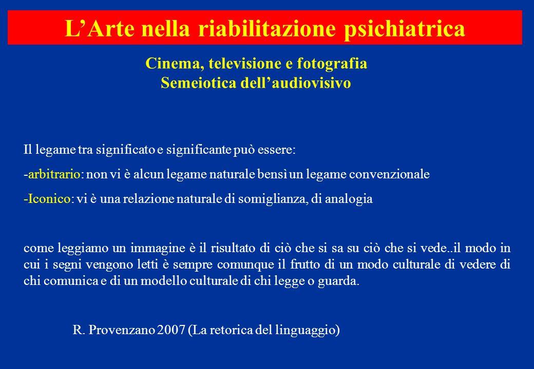 Cinema, televisione e fotografia Semeiotica dellaudiovisivo LArte nella riabilitazione psichiatrica Il legame tra significato e significante può esser