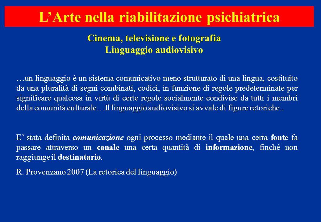 Cinema, televisione e fotografia Linguaggio audiovisivo LArte nella riabilitazione psichiatrica …un linguaggio è un sistema comunicativo meno struttur