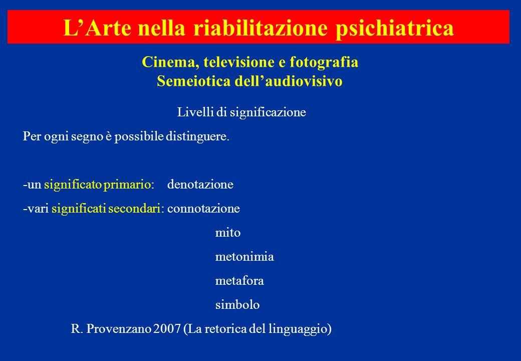 Cinema, televisione e fotografia Semeiotica dellaudiovisivo LArte nella riabilitazione psichiatrica Livelli di significazione Per ogni segno è possibi