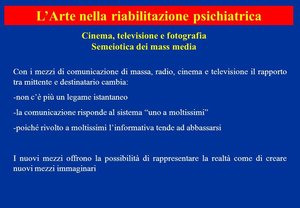 Cinema, televisione e fotografia Semeiotica dei mass media LArte nella riabilitazione psichiatrica Con i mezzi di comunicazione di massa, radio, cinem
