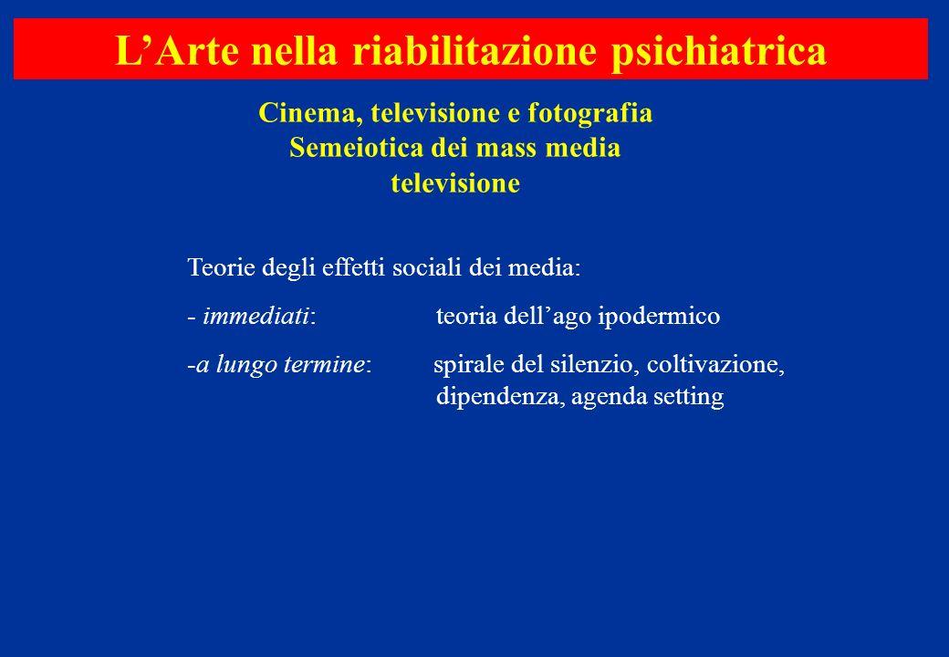 Cinema, televisione e fotografia Semeiotica dei mass media televisione LArte nella riabilitazione psichiatrica Teorie degli effetti sociali dei media: