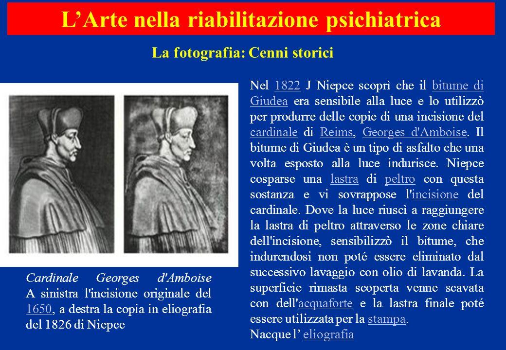 Nel 1822 J Niepce scoprì che il bitume di Giudea era sensibile alla luce e lo utilizzò per produrre delle copie di una incisione del cardinale di Reim