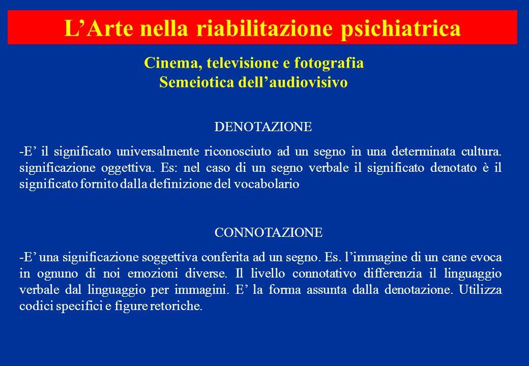 Cinema, televisione e fotografia Semeiotica dellaudiovisivo LArte nella riabilitazione psichiatrica DENOTAZIONE -E il significato universalmente ricon