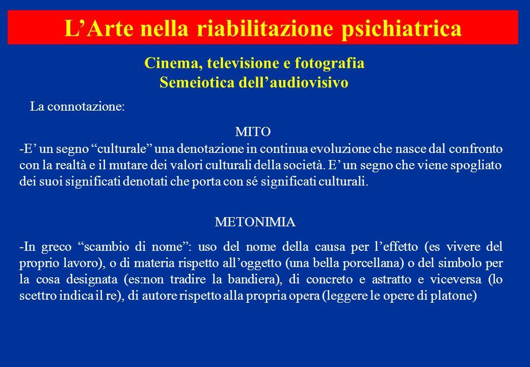 Cinema, televisione e fotografia Semeiotica dellaudiovisivo LArte nella riabilitazione psichiatrica MITO -E un segno culturale una denotazione in cont