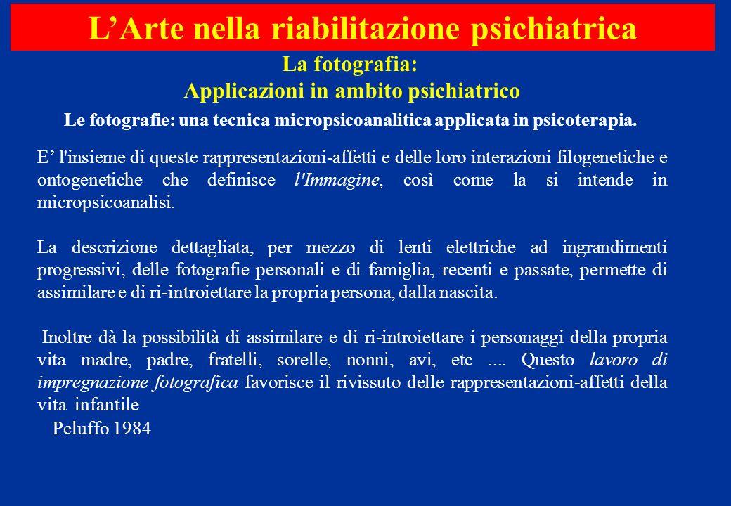 LArte nella riabilitazione psichiatrica La fotografia: Applicazioni in ambito psichiatrico E l'insieme di queste rappresentazioni-affetti e delle loro