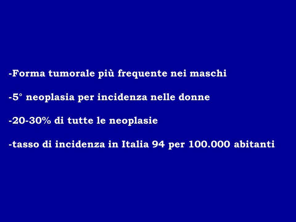 -Forma tumorale più frequente nei maschi -5° neoplasia per incidenza nelle donne -20-30% di tutte le neoplasie -tasso di incidenza in Italia 94 per 10