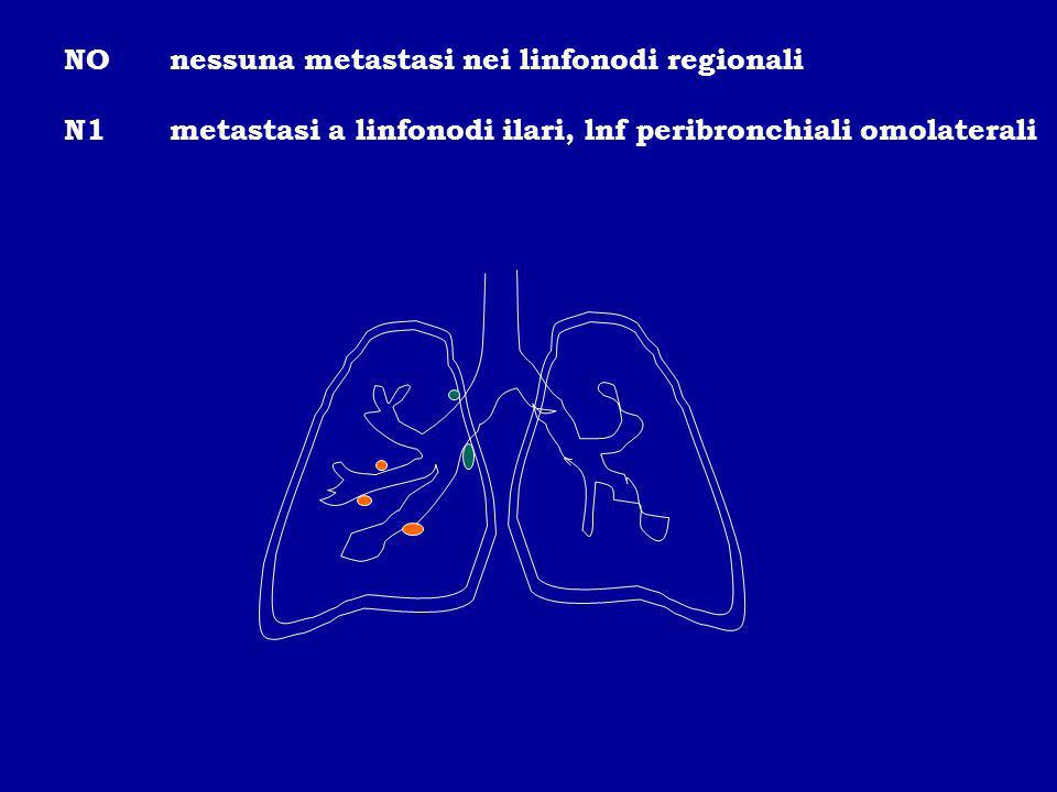 NOnessuna metastasi nei linfonodi regionali N1metastasi a linfonodi ilari, lnf peribronchiali omolaterali