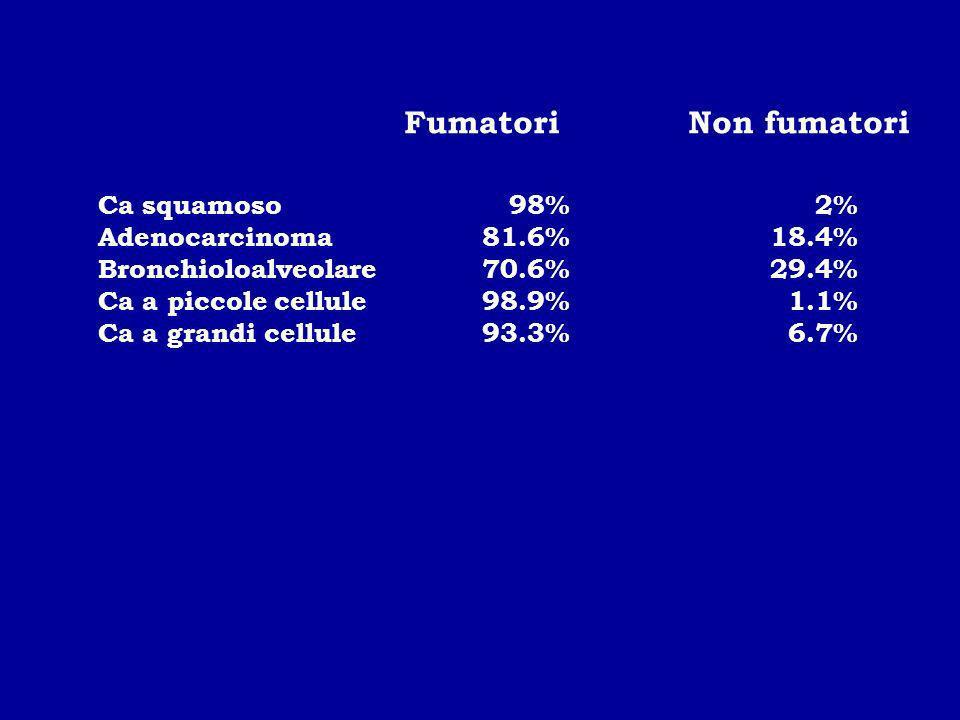 Ca squamoso 98% 2% Adenocarcinoma81.6%18.4% Bronchioloalveolare70.6%29.4% Ca a piccole cellule98.9% 1.1% Ca a grandi cellule93.3% 6.7% FumatoriNon fum