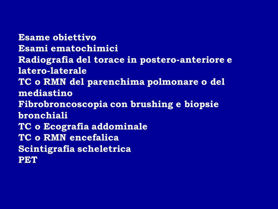Esame obiettivo Esami ematochimici Radiografia del torace in postero-anteriore e latero-laterale TC o RMN del parenchima polmonare o del mediastino Fi