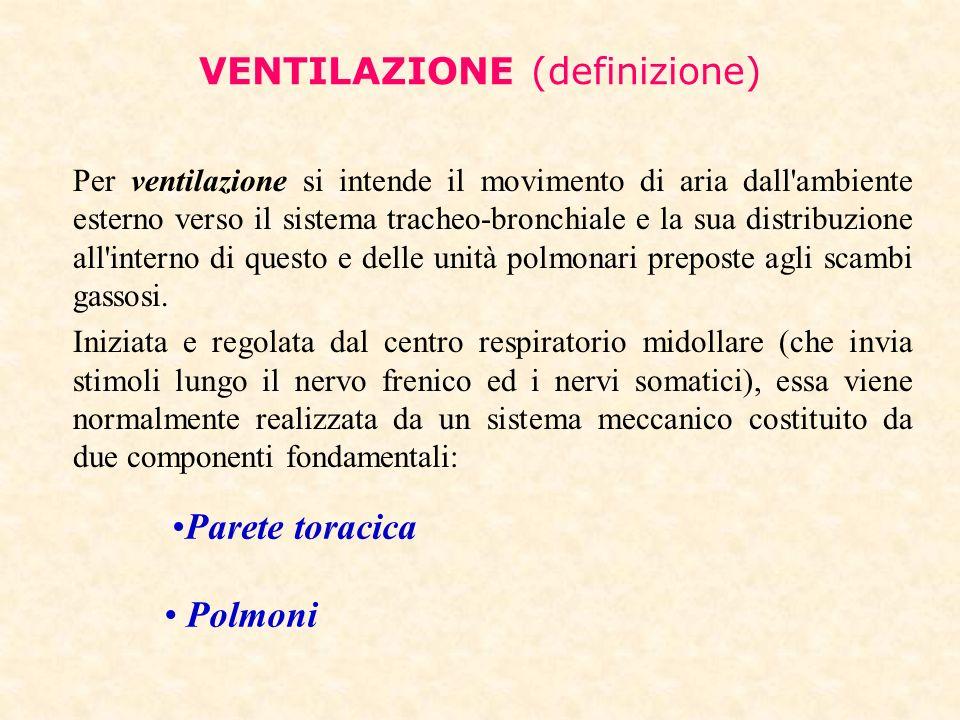 VENTILAZIONE (definizione) Per ventilazione si intende il movimento di aria dall'ambiente esterno verso il sistema tracheo-bronchiale e la sua distrib