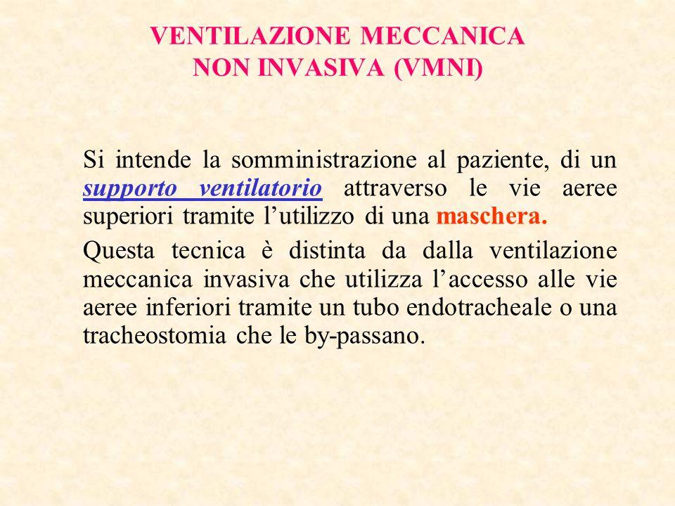 VENTILAZIONE MECCANICA NON INVASIVA (VMNI) Si intende la somministrazione al paziente, di un supporto ventilatorio attraverso le vie aeree superiori t