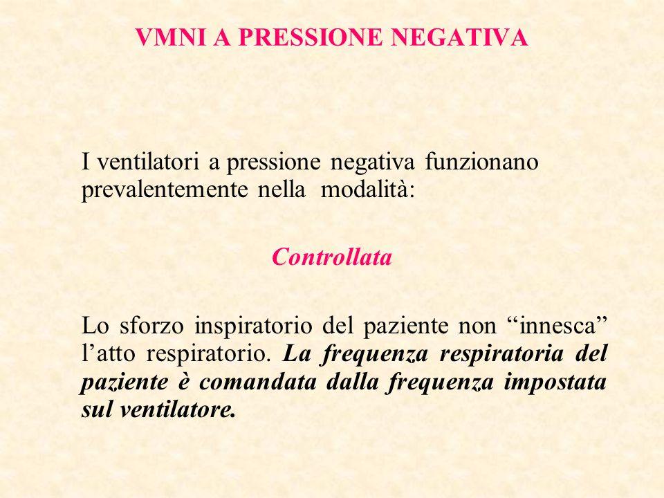 VMNI A PRESSIONE NEGATIVA I ventilatori a pressione negativa funzionano prevalentemente nella modalità: Controllata Lo sforzo inspiratorio del pazient