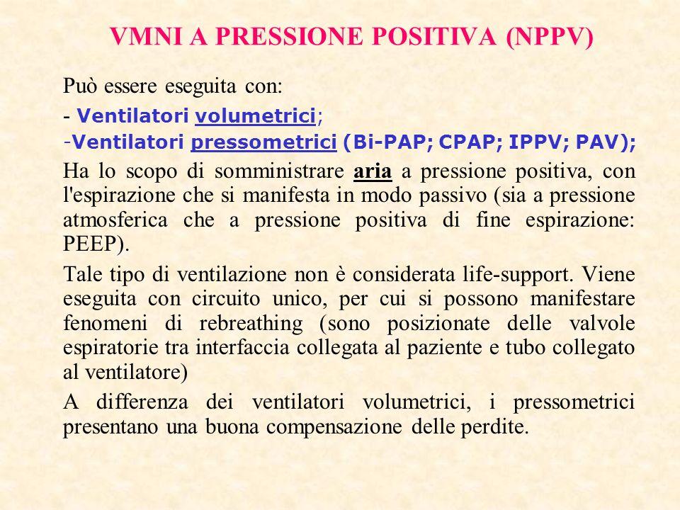 VMNI A PRESSIONE POSITIVA (NPPV) Può essere eseguita con: - Ventilatori volumetrici; -Ventilatori pressometrici (Bi-PAP; CPAP; IPPV; PAV); Ha lo scopo