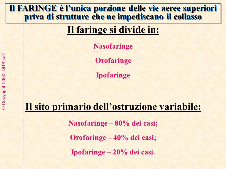 Il faringe si divide in: Nasofaringe Orofaringe Ipofaringe Il sito primario dellostruzione variabile: Nasofaringe – 80% dei casi; Orofaringe – 40% dei