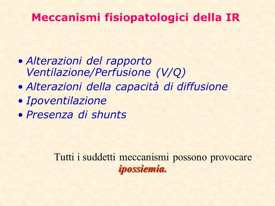 Meccanismi fisiopatologici della IR Alterazioni del rapporto Ventilazione/Perfusione (V/Q) Alterazioni della capacità di diffusione Ipoventilazione Pr