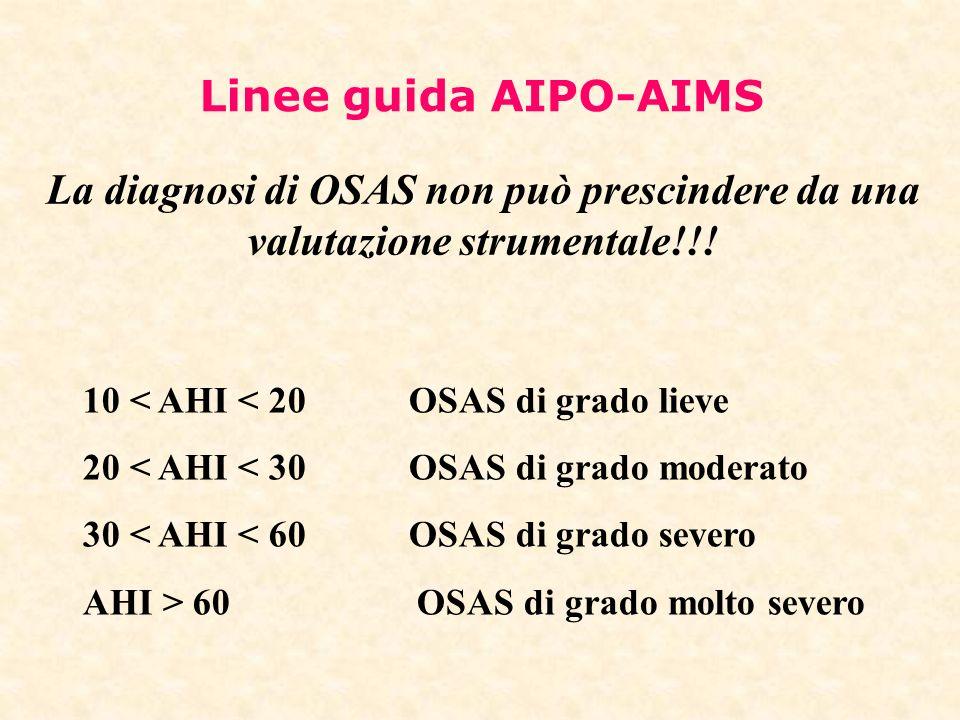 Linee guida AIPO-AIMS La diagnosi di OSAS non può prescindere da una valutazione strumentale!!! 10 < AHI < 20 OSAS di grado lieve 20 < AHI < 30 OSAS d