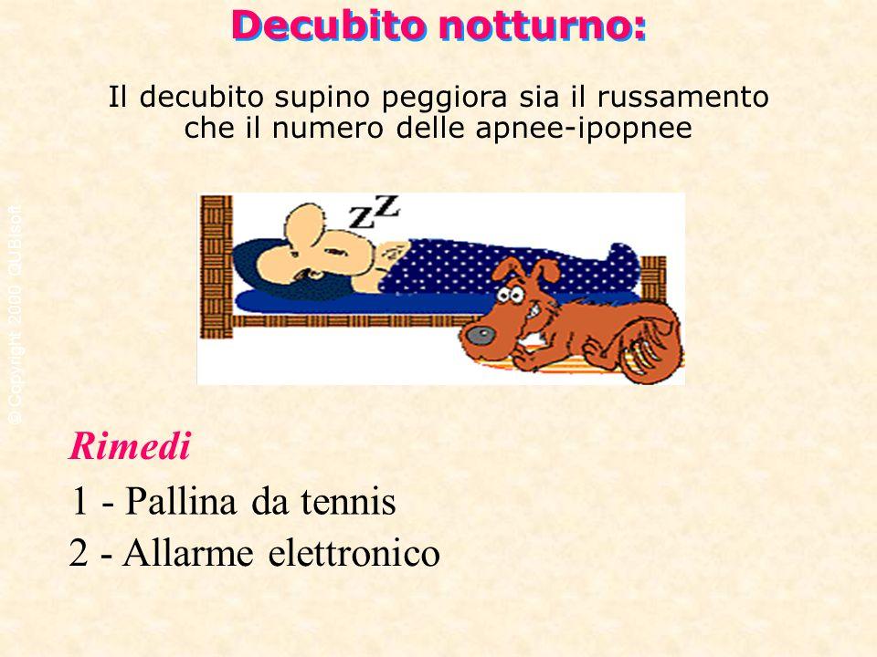 Decubito notturno: Il decubito supino peggiora sia il russamento che il numero delle apnee-ipopnee Rimedi 1 - Pallina da tennis 2 - Allarme elettronic