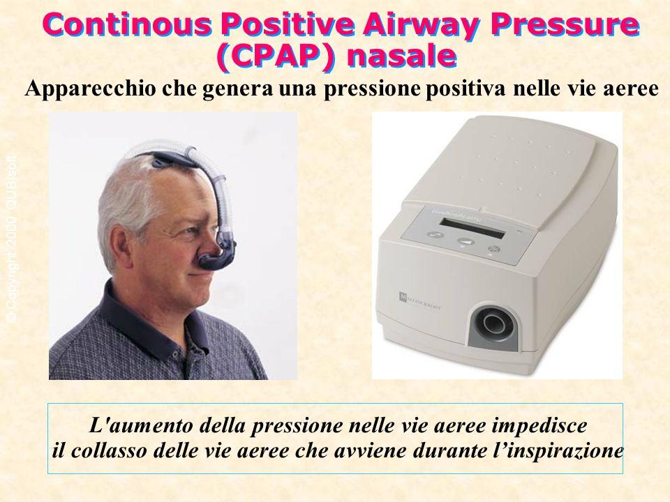 Apparecchio che genera una pressione positiva nelle vie aeree L'aumento della pressione nelle vie aeree impedisce il collasso delle vie aeree che avvi
