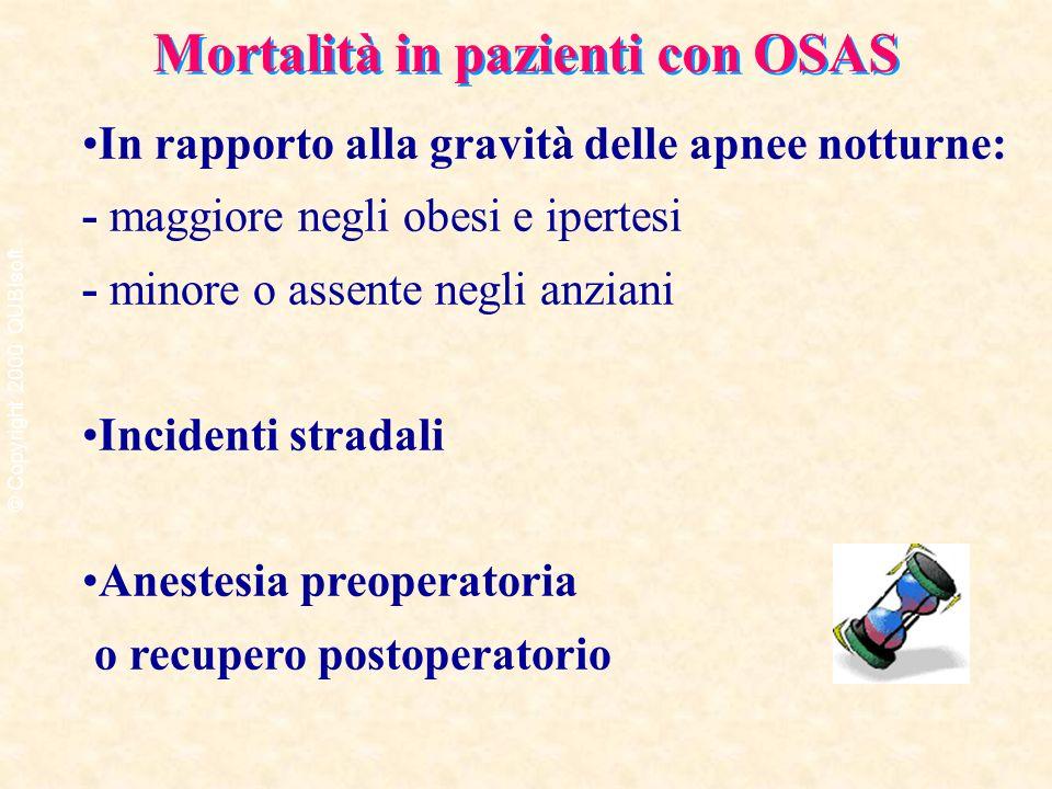 Mortalità in pazienti con OSAS In rapporto alla gravità delle apnee notturne: - maggiore negli obesi e ipertesi - minore o assente negli anziani Incid