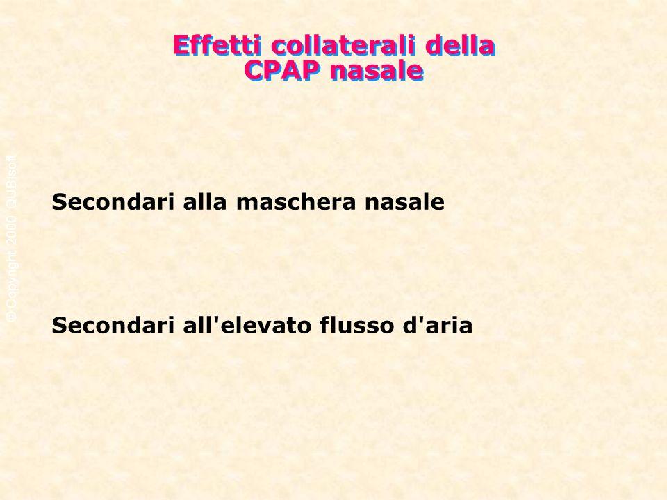 Effetti collaterali della CPAP nasale Effetti collaterali della CPAP nasale Secondari alla maschera nasale Secondari all'elevato flusso d'aria © Copyr