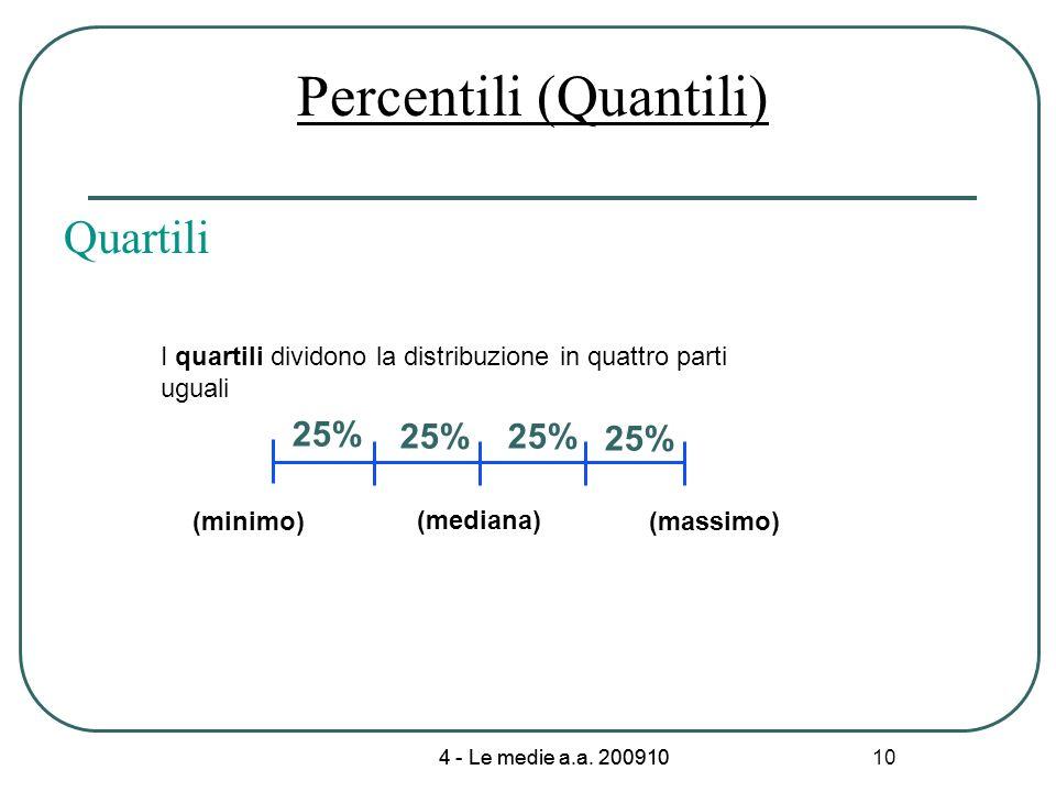 4 - Le medie a.a. 200910 10 Percentili (Quantili) Quartili I quartili dividono la distribuzione in quattro parti uguali 25% (minimo)(massimo) (mediana