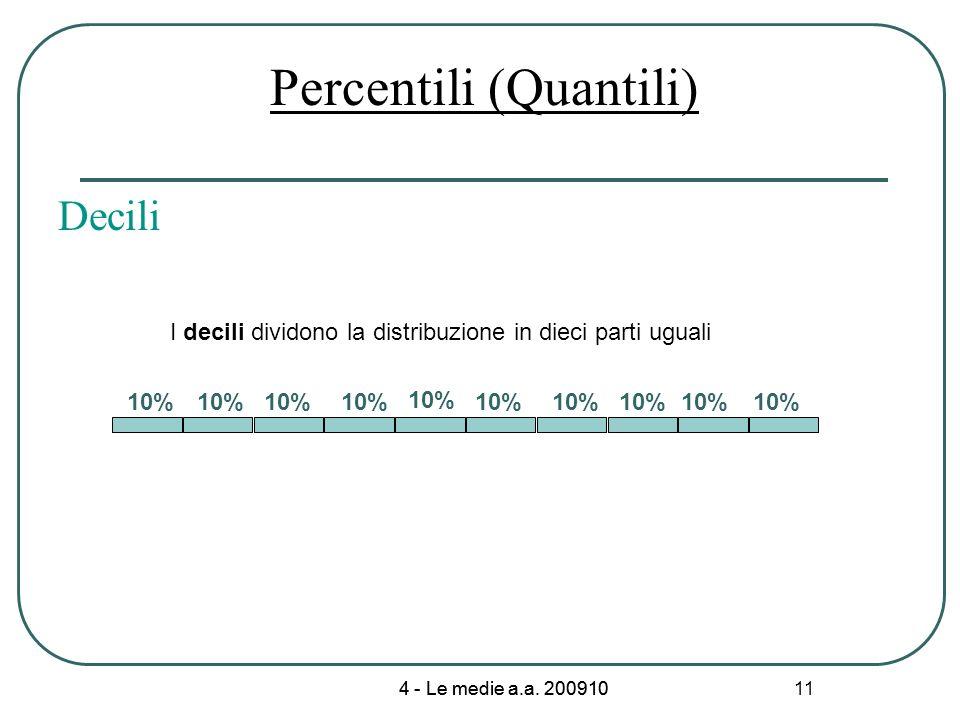 4 - Le medie a.a. 200910 11 Percentili (Quantili) 10% I decili dividono la distribuzione in dieci parti uguali Decili