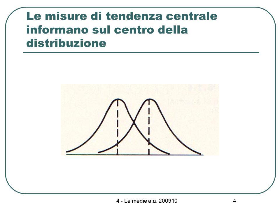 4 - Le medie a.a. 200910 4 Le misure di tendenza centrale informano sul centro della distribuzione