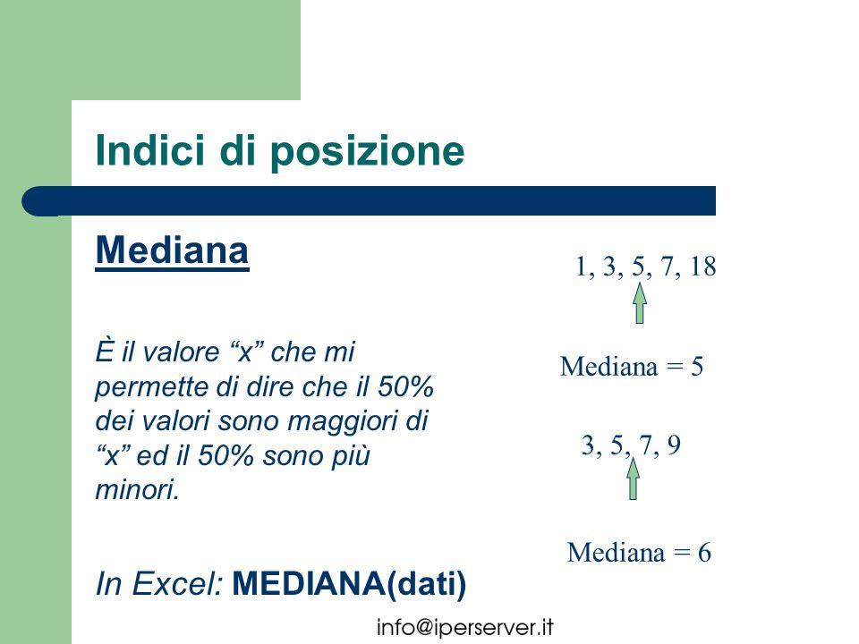 Indici di posizione Mediana È il valore x che mi permette di dire che il 50% dei valori sono maggiori di x ed il 50% sono più minori. 1, 3, 5, 7, 18 3