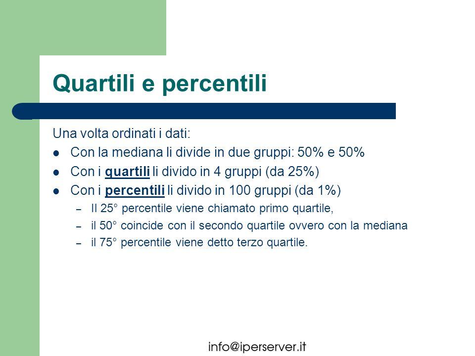 Quartili e percentili Una volta ordinati i dati: Con la mediana li divide in due gruppi: 50% e 50% Con i quartili li divido in 4 gruppi (da 25%) Con i