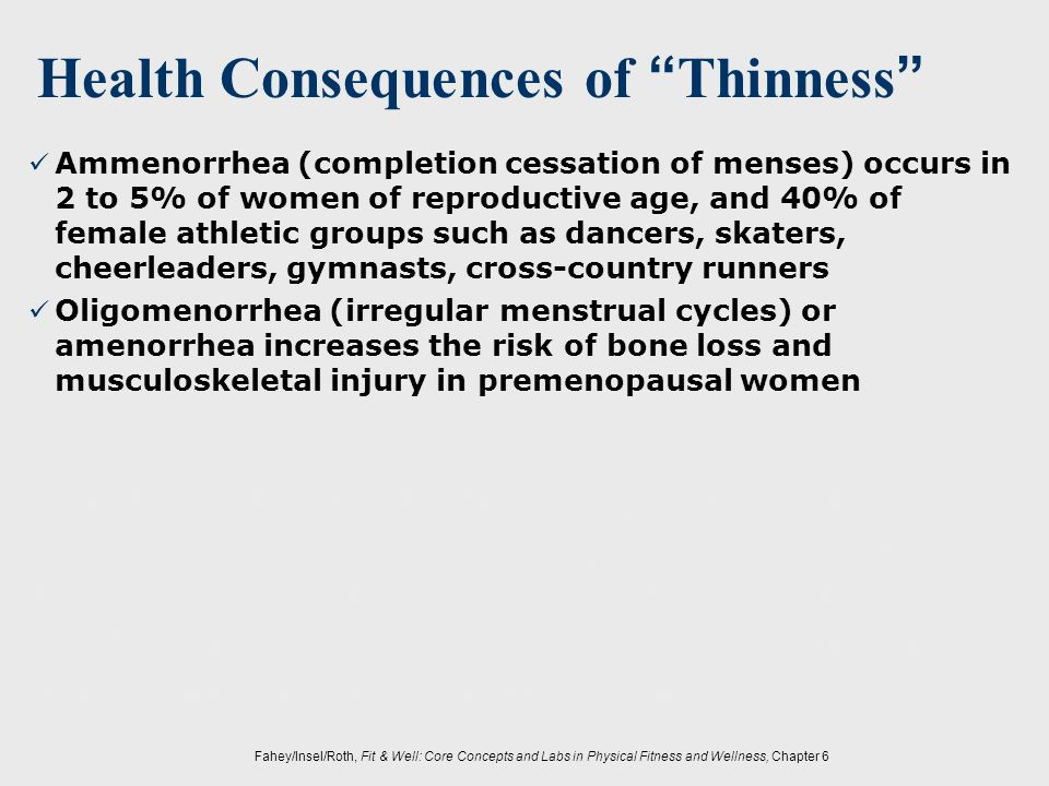 Fahey/Insel/Roth, Fit & Well: Core Concepts and Labs in Physical Fitness and Wellness, Chapter 6 Ammenorrhea (completion cessation of menses) occurs i