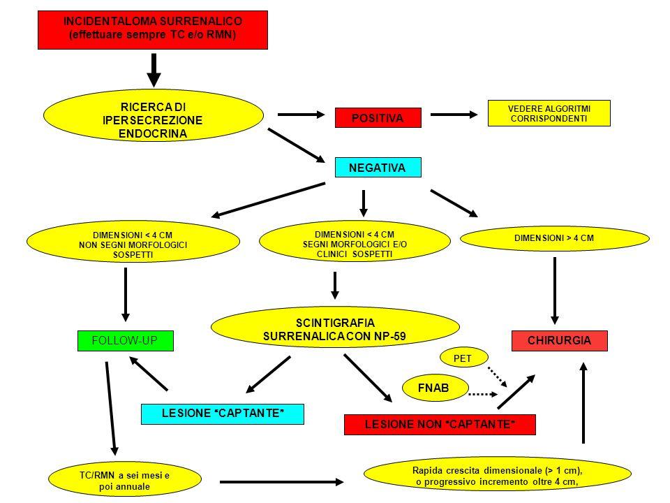 INCIDENTALOMA SURRENALICO (effettuare sempre TC e/o RMN) RICERCA DI IPERSECREZIONE ENDOCRINA NEGATIVA POSITIVA DIMENSIONI < 4 CM NON SEGNI MORFOLOGICI