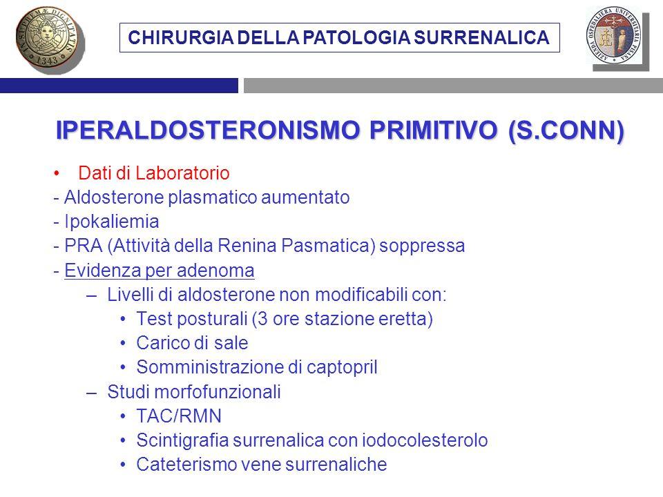Dati di Laboratorio - Aldosterone plasmatico aumentato - Ipokaliemia - PRA (Attività della Renina Pasmatica) soppressa - Evidenza per adenoma –Livelli