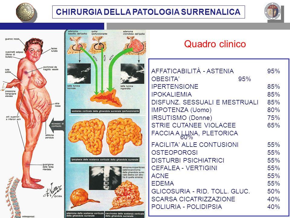 AFFATICABILITÀ - ASTENIA95% OBESITA95% IPERTENSIONE85% IPOKALIEMIA85% DISFUNZ. SESSUALI E MESTRUALI85% IMPOTENZA (Uomo)80% IRSUTISMO (Donne)75% STRIE