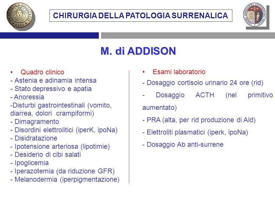 Quadro clinico - Astenia e adinamia intensa - Stato depressivo e apatia - Anoressia -Disturbi gastrointestinali (vomito, diarrea, dolori crampiformi)