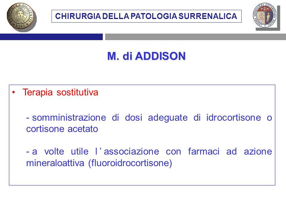 Terapia sostitutiva - somministrazione di dosi adeguate di idrocortisone o cortisone acetato - a volte utile lassociazione con farmaci ad azione miner