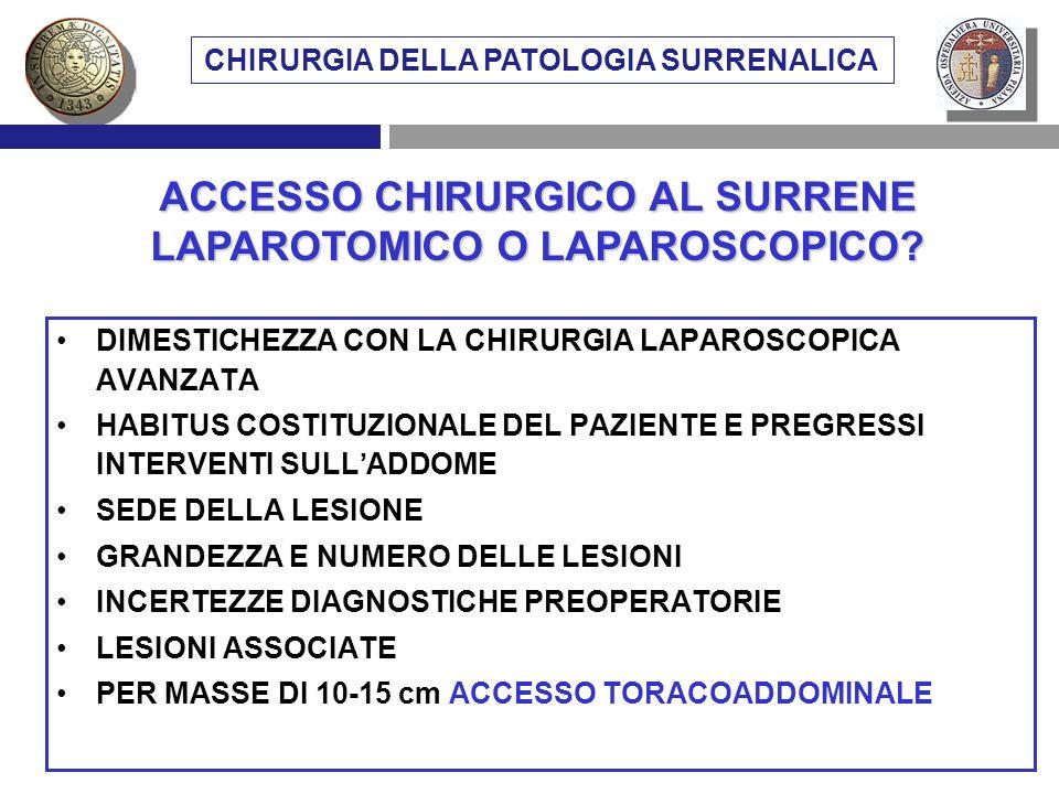 VIE DI ACCESSO CHIRURGICO AL SURRENE DIMESTICHEZZA CON LA CHIRURGIA LAPAROSCOPICA AVANZATA HABITUS COSTITUZIONALE DEL PAZIENTE E PREGRESSI INTERVENTI