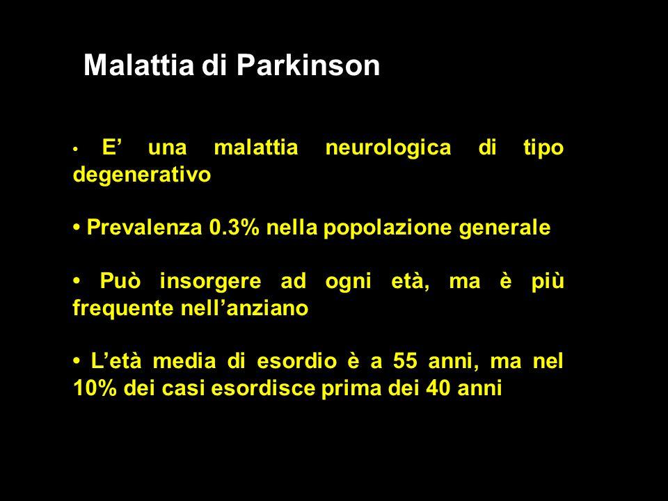 Malattia di Parkinson E una malattia neurologica di tipo degenerativo Prevalenza 0.3% nella popolazione generale Può insorgere ad ogni età, ma è più f